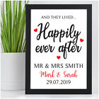 Wedding Gifts PERSONALISED for Bride and Groom Happily Ever After Wedding Day