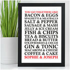 PERSONALISED Wedding Anniversary Engagement Couples Gifts for Her Food Lovers