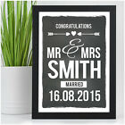 Personalised Wedding Gifts for Bride and Groom Mr & Mrs Chalkboard Style Print