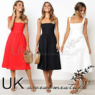 UK Womens Dresses Summer Square Neck Plain Midi Swing Skater Ladies Dresses 6-14