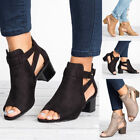 d92fb4f4220 Women Buckle Peep Toe Low Block Heel Ankle Booties Boots Sandals Shoes Size  9 10