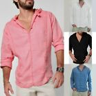 Fashion Men's Long Sleeve Polo Hoodie T Shirt Casual Linen Summer Solid Tee Tops image