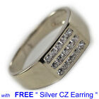 WHITE GOLD PLATED LUXERY DESIGN STYLE 5 Ring with Free Silver Earring U.S SHIP