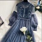Women's Long Lace Dress Embroidery Tulle Ballgown Party Maxi Dress Bridesmaid