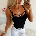 Women Summer Tank Tops Bead Sexy Vest Fashion Camisole Sleeveless Casual T-Shirt