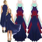 Womens Halter Chiffon Short Bridesmaid Dress Long Formal Evening Party Prom Gown