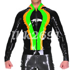 New Latex Men Handsome Hooded Top Cool Coat With Zipper 0.4mm Size S-XXL