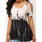 Women's Cold Shoulder Short Sleeve Loose T Shirt Tops Summer Casual Tunic Blouse