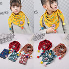 Внешний вид - Cute Baby Triangle Scarf Lattice Autumn Winter Cotton Collar Scarf Warm Pompom