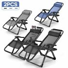2 Folding Zero Gravity Lounge Chairs+Utility Tray Outdoor Beach Patio UK oshion