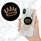 Neon Light Black Crown Queen King Retractable Phone Grip Ring Holder Stand