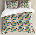 Flip Flop Queen Size Duvet Cover Set Multi Formed Pairs with 2 Pillow Shams image