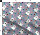 Puppy Bichon Frise Puppy Flowers Gray Puppy Fabric Printed by Spoonflower BTY