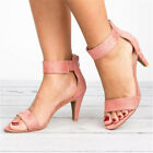 Women's Mid Low Block Heel Sandals Ankle Strap Work Smart Summer Shoes Size 9 10