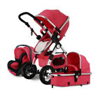 Luxury 3 in 1 Foldable Baby Stroller High View Pram Pushchair Bassinet Car SeatX