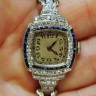 "2 Carat Art Deco Sapphire & Diamond Platinum Ladies Wristwatch Fits 6.25"" Wrist"