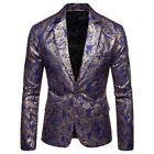 Ethnic Floral Mens Leisure Formal Slim Fit Coat Jackets CHic One Botton Tops New