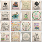 Coffee Book Letter Cushion Cover Linen Waist Throw Pillow Case Sofa Home Decor image