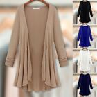 Lady Long Sleeve Cardigan Thin Coat Jacket Blouse Spring Fall Casual Outwear 4XL