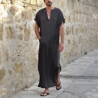 Mens Moroccan Arab Kaftan Kurta Shirt Long Thobe Gown Dishdasha Arab Robe Causal
