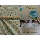 coupon tissu VILLANDRY TURQUOISE FOND GALET