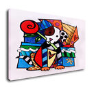 """Romero Britto Art Oil Painting Print On Canvas Home Decor""""The Dog With A Flower"""""""