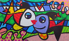 """Romero Britto Cartoon Oil Painting Print On Canvas Home Decor""""Two Kissing Fish"""""""