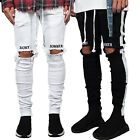 Mens Summer Ripped Jeans Skinny Destroyed Biker Denim Pants Slim Long Trousers