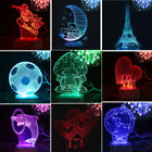 USB 7 Colors Changing Night Light Desk Table 3D LED illusion Lamp for kids Gift