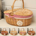 Picnic Basket Basket Wood Oval Natural Willow Wicker Picnic Hamper Shopping New