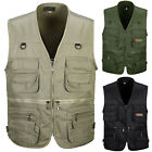 Mens Multi-Pocket Fishing Hunting Vest Outdoor Jacket Photography Waistcoat Coat