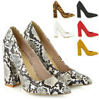 Womens Slip On Court Pumps Ladies High Block Heel Party Comfy Point Toe Shoes