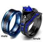Couple Rings Blue Tungsten Mens Band Sapphire Black Plated Womens Claddagh Ring image