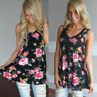 Women's Floral Printed Mini Dress Casual Sleeveless Shirts Summer Loose Fit Tops