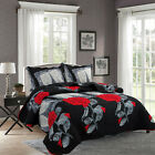 3 Piece Reversible Embroidery Quilt Bedspread Set Paris Rose Design Queen King  image