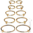 PAIR WOMEN'S NON PIERCING FAKE CLIP ON HOOP EARRINGS LIP NOSE RING GOLD SILVER