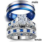Couple Rings Tungsten Mens Wedding Band CZ Sapphire Women's Wedding Ring Sets image