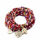 Beads Bracelets For Women Boho Multilayer Style Life Of Tree Leave Charm Crystal