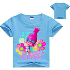 Summer Kids Girls Trolls Cartoon Short Sleeve T-shirt Tops Casual Tee Clothing image