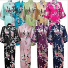 Women Long Nightwear Robe Satin Silk Ladies Night Gown Bathrobe Sleepwear Kimono