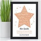 Personalised Teacher Gifts - Best Teacher Nursery TA Thank You Leaving Gifts