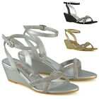 Womens Mid Heel Wedge Sandals Ladies Diamante Bridal Evening Sparkly Shoes Size