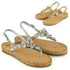 Womens T-Bar Strap Sandals Crystal Diamante Platform Ladies Summer Shoes Size
