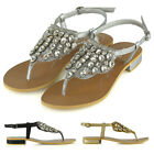 Womens Flat Sandals Slingback Diamante Ladies Sparkly Diamante Summer Shoes
