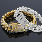 Hip Hop Men Cuban Link Chain Bracelet Shiny Rhinestone Bangle Jewelry Intriguing