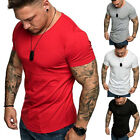 Men's Short Sleeve Muscle Tee Workout T-shirt Training Fitness Gym Top Blouse image