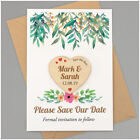 PERSONALISED Save The Date Magnets Floral Rustic Wedding Wooden Heart Invitation