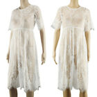US Pregnant Women's Lace Split Maternity Dress Beach Maxi Gown Photography Prop