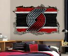 Portland Trail Blazers Wall Art Decal 3D Smashed Basketball NBA Wall Decor WL209 on eBay