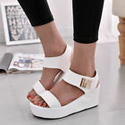 Womens Wedges Ankle Strap Platform Sandals Ladies Open Toe Chunky Shoes Size 2-6